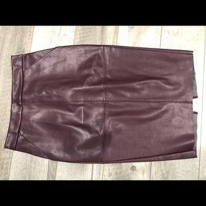 Express faux leather high waist marroon skirt 2.